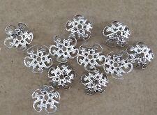 Lot de 50 calottes filigrane en métal argent platine 10 mm coupelles-cals017