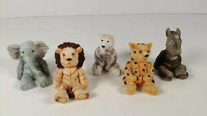 Treasured Pals Small Animal Ornaments x 5 Lion, Cheetah, Elephant, Wolf, Donkey