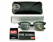 NEW Rayban Sunglasses Clubmaster RB3016 W0365 51mm Black Gold Classic Green G-15