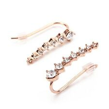 18K  Gold Plated Crystal Rhinestone Hook Wrap Ear Cuff Stud fancy Earrings