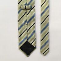 "Ermenegildo zegna tie l 61"" w 3.625""  green blue stripes 100% silk Italy pa0722"