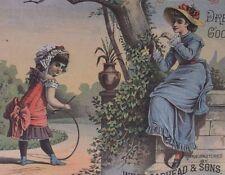 Girl w/Hoop,Lady,Hat,Fashion,Birds-Victorian Trade Card-Broadhead Dress Goods-NY