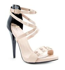 New Nude Beige Black Pyramid Studs Ankle cross Strap Stiletto High Heel pump 7.5