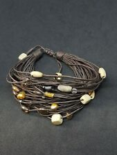 Multi Gemstone Bead 45 Strand Brown Cord Adjustable Bracelet