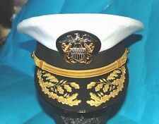 US NAVY ADMIRALS DOUBLE GOLD ROWED PEAK CAP MADE BY THE FAMOUS BANCROFT (60).