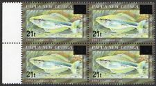PNG 1994 Overprints 21t ON 60t Freshwater Fish Block 4