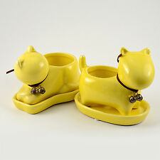 S/2 Animal Shaped Ceramic Planter Home or Garden Plant Pot Container with hole