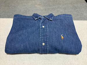 Boys Polo By Ralph Lauren Denim Button Down Shirt Size 18