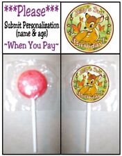 24 Bambi Baby Shower Birthday Party Lollipop Stickers Labels Deer Fawn