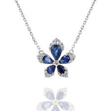 Blue Sapphire Floral Pendant Necklace 14K White Gold Pave Diamond Flower
