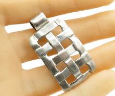 MEXICO 925 Sterling Silver - Rectangular Criss Cross Pattern Pendant - P1474