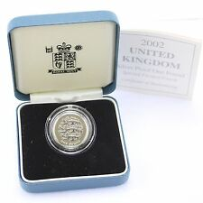 Royal Mint 2002 United Kingdom Reverse Frosting Silver Proof 3 Lions £1 Cased