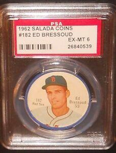 PSA 6 EX-MT 6 - Ed Bressoud 1962 Salada Coins Card Boston Red Sox