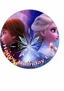 7.5 inch Personalised Edible Icing Cake Topper Happy Birthday Frozen Anna Elsa