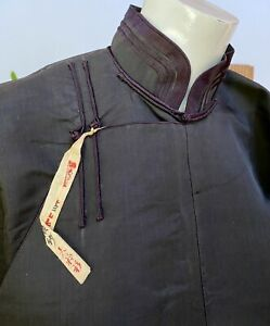 ANTIQUE CHINESE BLACK SILK JACKET FINELY HAND SEWN WITH ORIGINAL TAG