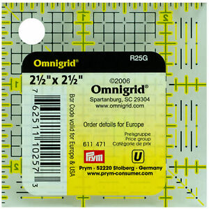 "Omnigrid 2 1/2 "" x 2 1/2 "" Ruler 1/8"" Grid 2 in Square"