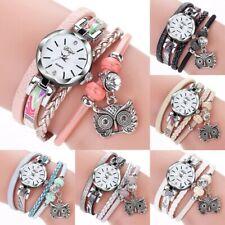 Women's Owl Pendant PU Leather Quartz Watch Wristwatch Ladies Crystal Bracelet