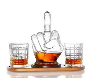 The Diamond Glassware Middle Finger Whiskey Decanter Set.