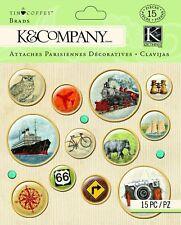 K & Co Tim Coffey Travel Journey Brads Planner Scrapbook DIY Craft Embellishment