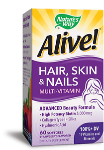 Nature's Way Alive! Hair, Skin & Nails Multivitamin with Biotin and Collagen, 60