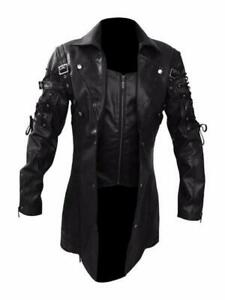 Men's Steampunk Gothic Leather Coat Matrix Trench Coat Nightclub Cosplay Jackets