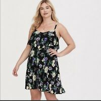 Torrid Black Floral Skater Hacci Flutter Swing Dress Plus Size 4X / 6X NWT