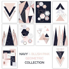 Navy & Blush Pink Abstract GEOMETRIC Collection with Rose Gold EFFECT NOT Foil