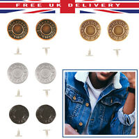 Denim Replacement Hammer On Jeans Buttons Brass Studs DIY Jacket Trousers