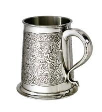NEW 1 Pint Celtic Spirals Polished Pewter Tankard