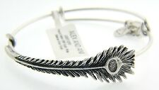 NEW ALEX AND ANI PEACOCK FEATHER WRAP CHARM BANGLE WITH SILVER FINISH 128