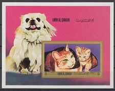 Umm al Qiwain 1972 ** Bl.55 Hunde Dogs Katzen Cats Tiere Animals Fauna
