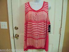 George Woven Smokin Hot Pink & White Striped Shirt Size 4X (26W-28W) Women's NEW