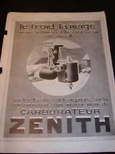 "Antique Advertising ""ZENITH CARBURETORS"" French Ad, c1927, 16""x12"" Frameable"