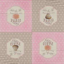 2 serviettes en papier Salon de Thé Paris Pâtisserie Paper Napkins Macaroons