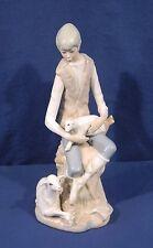 "Casades Spain Porcelain Figurine Shepherd Boy with Sheep Lambs 11-1/4"" Tall"