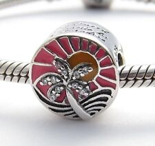 VACATION SUNSET TRAVEL CHARM Bead Sterling Silver.925 For European Bracelet 469