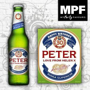 Novelty Personalised Italian Beer/Lager Bottle Labels - Perfect Birthday Gift!