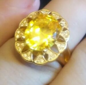 8 Ctw Oval Citrine Solitaire gold filled with 925 Silver Ring adjustable