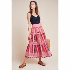 New Anthropologie Auberte Poplin Tiered Midi Skirt $128 SIZE 2