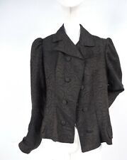 VICTORIAN 19TH C DOUBLE BREASTED PATTERNED WOOL BUSTLE JACKET FOR DRESS