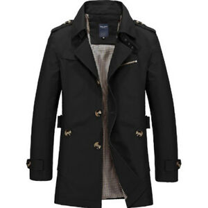 Men Single Breasted Long Trench Coat Outwear Jacket Overcoat Windbreaker Parka S