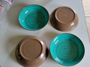 "4 Melmac 7.5"" Soup Salad Bowls Melamine Turquoise Teal Blue & brown"