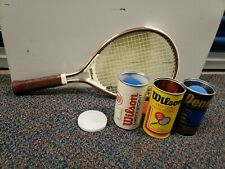 Vintage Lot of Wilson Tennis Racket and 3 cans of Racket balls