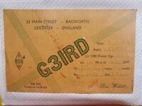 OLD VINTAGE QSL HAM RADIO CARD. BAGWORTH, ENGLAND. 1954