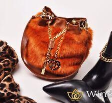 RINASCIMENTO duffle Fashion Handbag Shoulder Faux Fur Clutch Hobo Bucket Bag