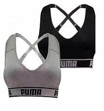PUMA Women's Seamless Sports Bra Removable Cups - 2 Pack - Black/Gray, Medium
