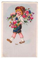 POST CARD ENFANT KINDER TYROLIEN BOUQUET DE FLEURS 1939