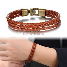 Brown Wheat Chain Braided Leather Rope Cord Strap Bracelet Wristband for Men