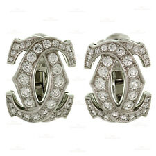 Iconic CARTIER Double C Diamond 18k White Gold Earrings