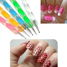 Pens for nail art ebay 5 x 2 way dotting pen marbliezing tool nail art tip dot paint manicure tool kit prinsesfo Image collections